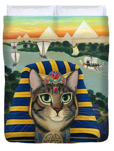 Egyptian Pharaoh Cat - King Of Pentacles Duvet Cover