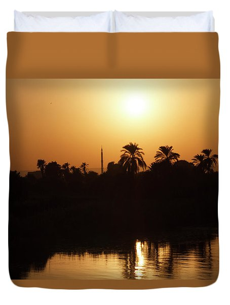 Duvet Cover featuring the photograph Egyptian Sunset by Silvia Bruno