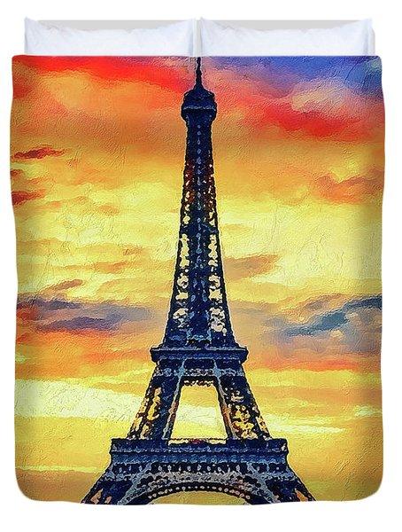 Eifel Tower In Paris Duvet Cover by PixBreak Art
