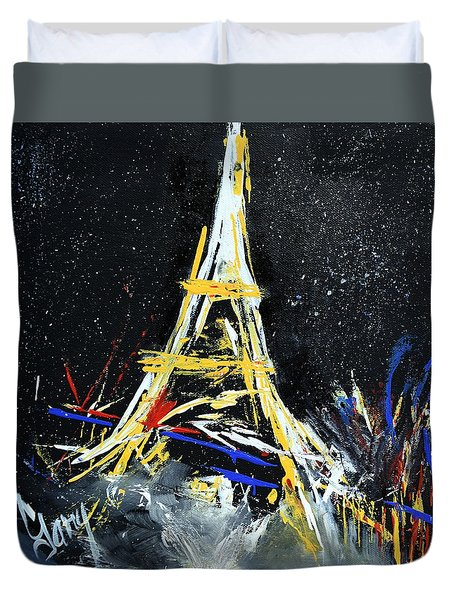 Duvet Cover featuring the painting Eiffel by Gary Smith