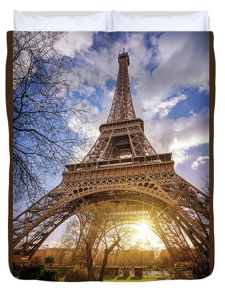 Eiffel Sunset Duvet Cover by Delphimages Photo Creations