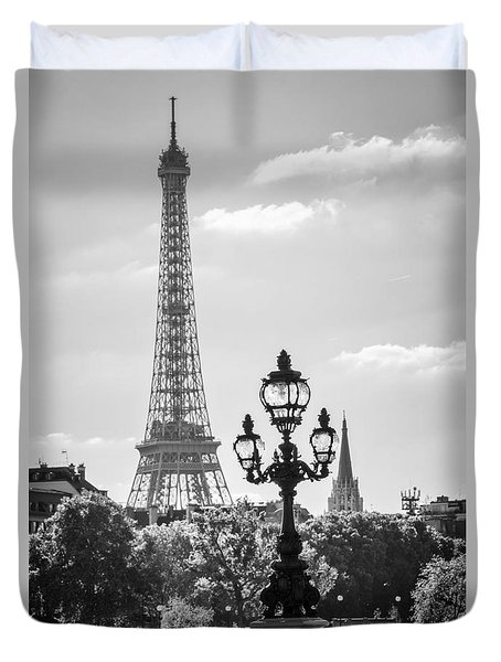 Eiffel Tower And Bridge Alexandre IIi Duvet Cover