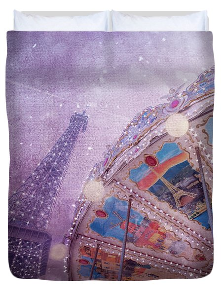Duvet Cover featuring the photograph Eiffel Tower And Carousel by Clare Bambers