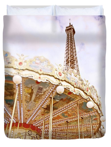 Duvet Cover featuring the photograph Eiffel Tower And Carousel by Ivy Ho