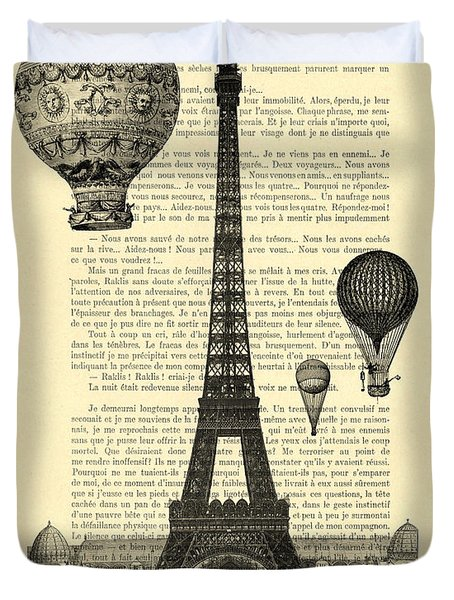 Eiffel Tower And Hot Air Balloons Duvet Cover