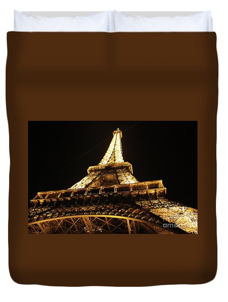 Duvet Cover featuring the photograph Eiffel Tower At Night by MGL Meiklejohn Graphics Licensing