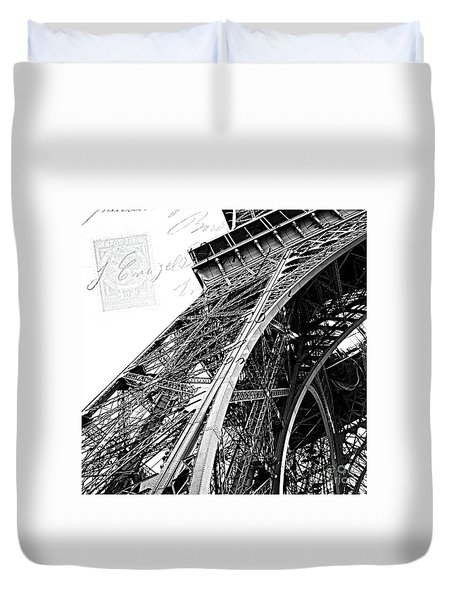 Eiffel Tower Black White Structure Architecture Closeup Eiffel Tower French Script  Duvet Cover