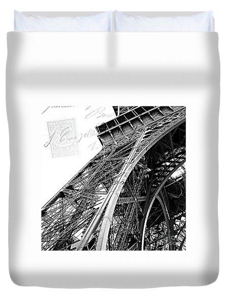 Eiffel Tower Black White Structure Architecture Closeup Eiffel Tower French Script  Duvet Cover