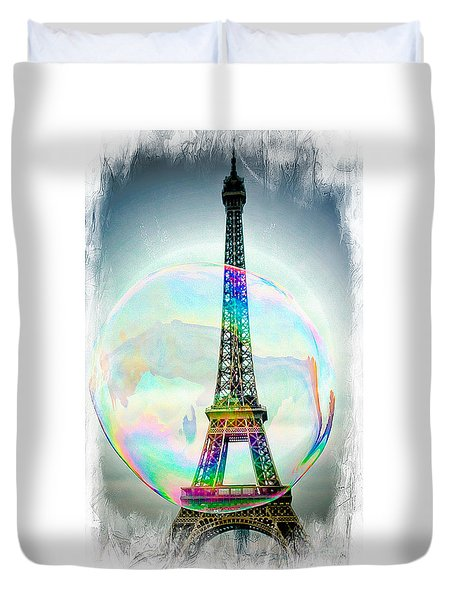 Eiffel Tower Bubble Duvet Cover by Lilliana Mendez