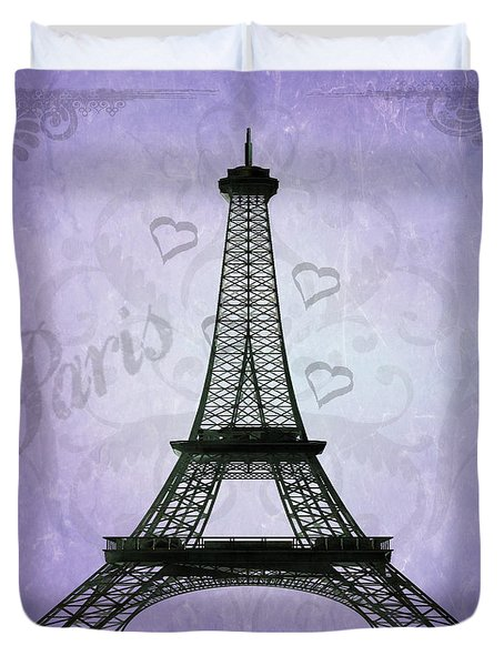 Eiffel Tower Collage Purple Duvet Cover