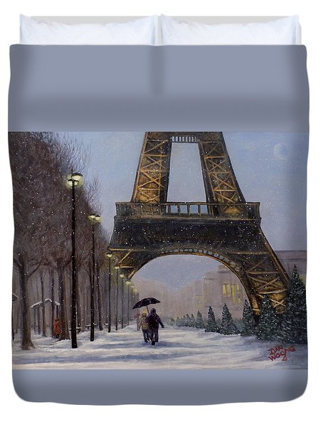 Eiffel Tower In The Snow Duvet Cover by Dan Wagner