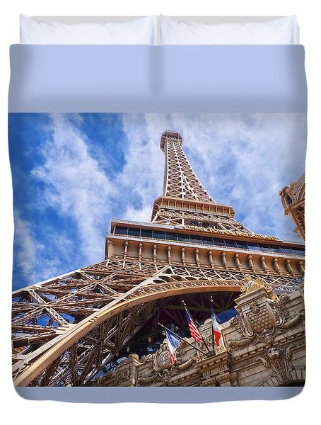 Duvet Cover featuring the photograph Eiffel Tower Las Vegas  by Ricardo J Ruiz de Porras