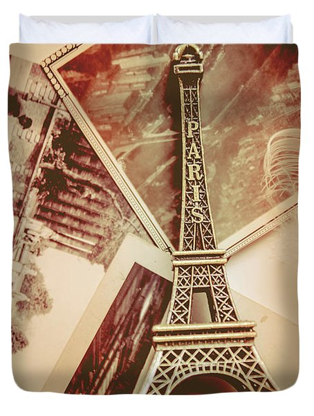 Eiffel Tower Old Romantic Stories In Ancient Paris Duvet Cover