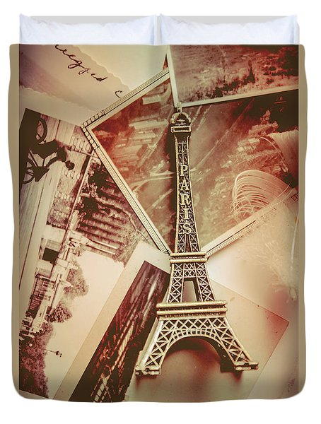 Eiffel Tower Old Romantic Stories In Ancient Paris Duvet Cover by Jorgo Photography - Wall Art Gallery