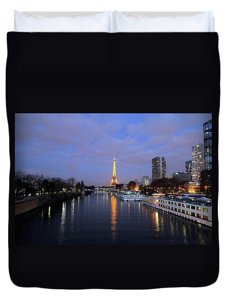 Eiffel Tower Over The Seine Duvet Cover