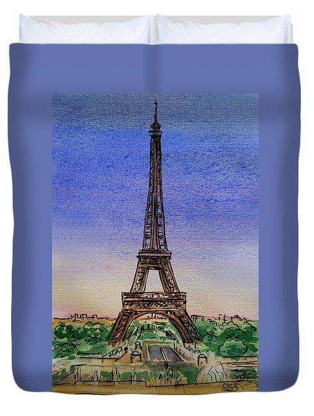 Eiffel Tower Paris France Duvet Cover by Irina Sztukowski