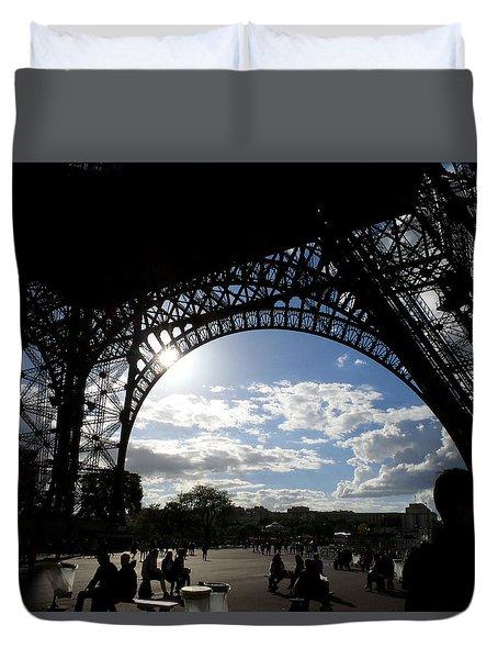 Eiffel Tower Sky Duvet Cover by Rosie Brown