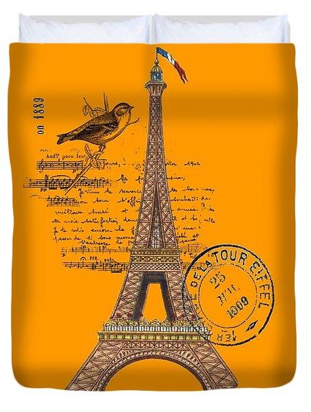Eiffel Tower T Shirt Design Duvet Cover