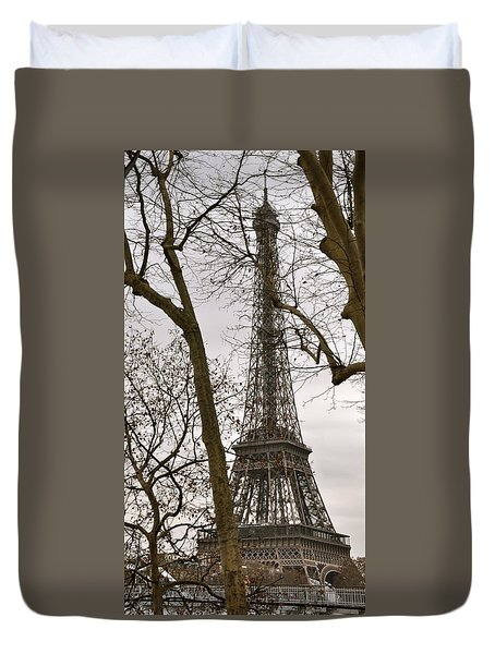 Eiffel Tower Through Branches Duvet Cover