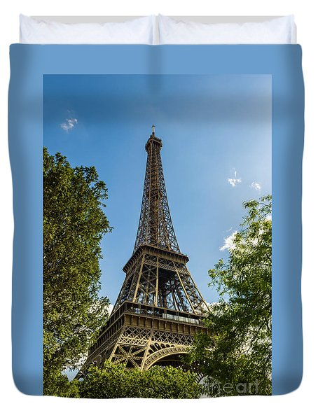 Eiffel Tower Through Trees Duvet Cover