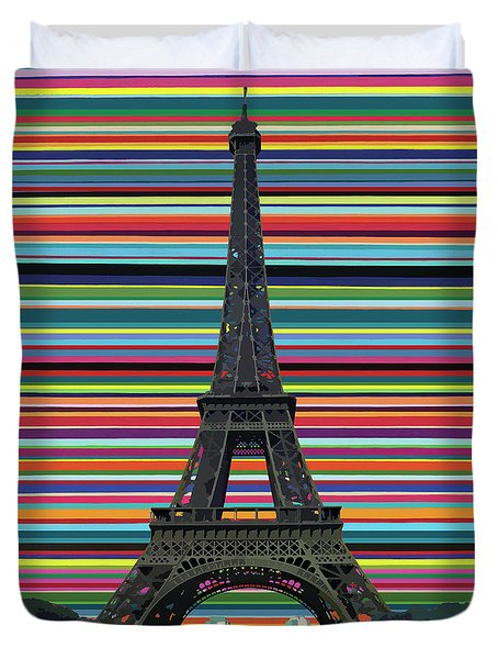 Duvet Cover featuring the painting Eiffel Tower With Lines by Carla Bank