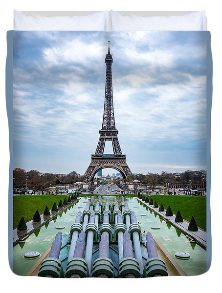 Eiffeltower From Trocadero Garden Duvet Cover