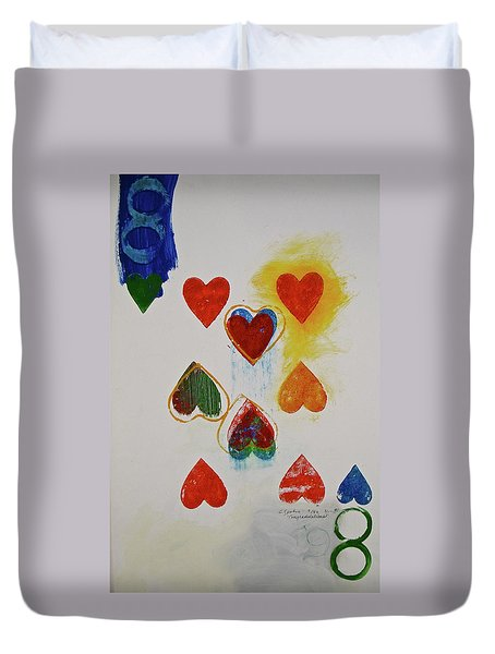 Duvet Cover featuring the painting Eight Of Hearts 9-52  2nd Series  by Cliff Spohn