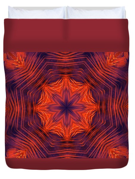 Eight Petal Orange Kaleidoscope Duvet Cover