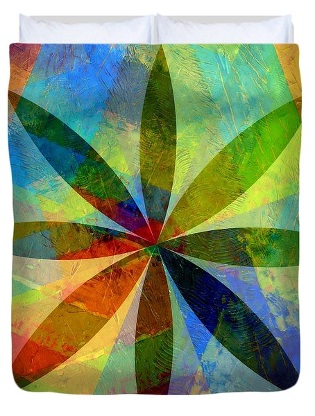 Duvet Cover featuring the painting Eight Petals by Michelle Calkins