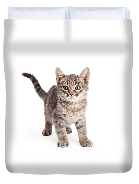 Eight Week Old Playful Tabby Kitten Duvet Cover