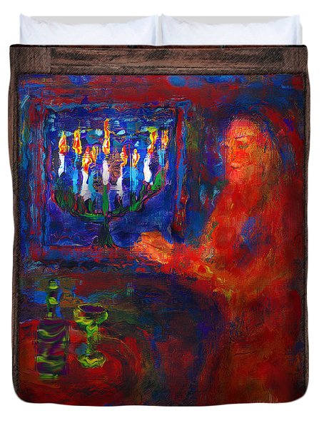 Eighth Day Of Chanukah Duvet Cover