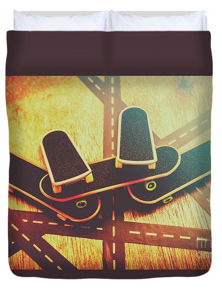 Eighties Street Skateboarders Duvet Cover