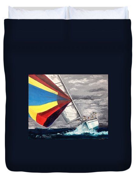 Duvet Cover featuring the painting Eighty-six by Stan Tenney