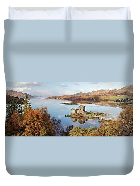 Duvet Cover featuring the photograph Eilean Donan Castle Panorama In Autumn by Grant Glendinning