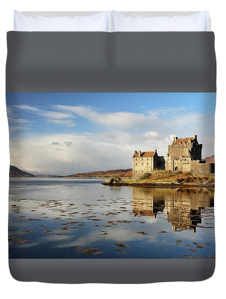 Duvet Cover featuring the photograph Eilean Donan - Loch Duich Reflection - Dornie by Grant Glendinning