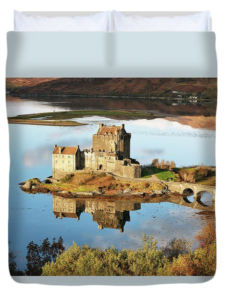 Duvet Cover featuring the photograph Eilean Donan - Loch Duich Reflection - Skye And Lochalsh by Grant Glendinning