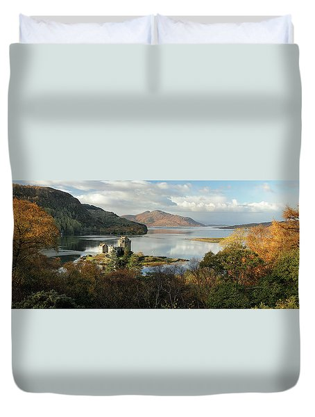 Duvet Cover featuring the photograph Eilean Donan Panorama - Autumn by Grant Glendinning