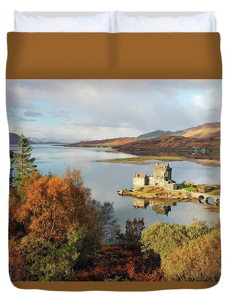 Duvet Cover featuring the photograph Eilean Donan Reflection In Autumn by Grant Glendinning