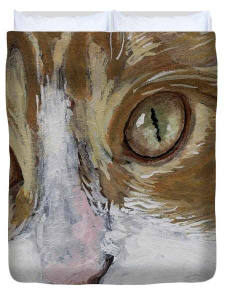Duvet Cover featuring the painting Einstein by Mary-Lee Sanders
