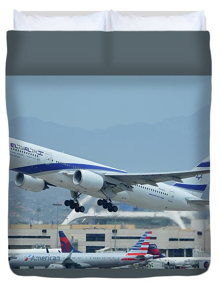Duvet Cover featuring the photograph El Al Boeing 777-258er 4x-ece Los Angeles International Airport May 3 2016 by Brian Lockett