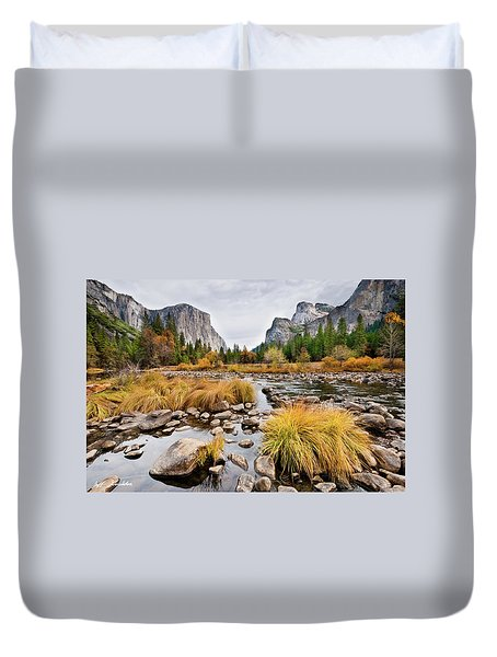 El Capitan And The Merced River In The Fall Duvet Cover