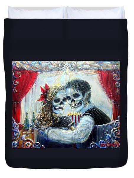 Duvet Cover featuring the painting El Cine by Heather Calderon