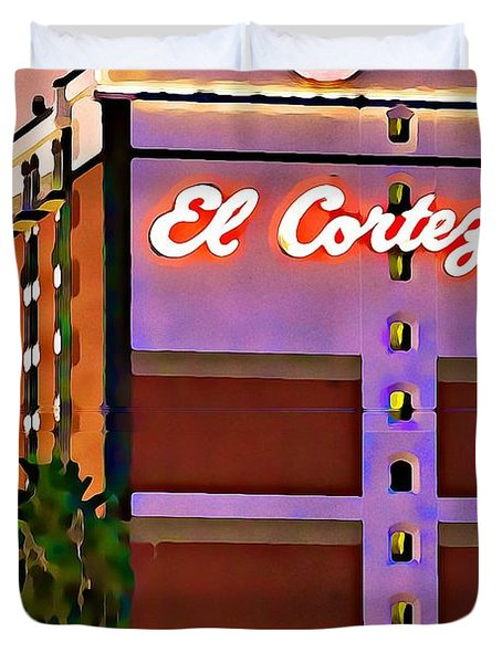 El Cortez Hotel At Dusk Duvet Cover