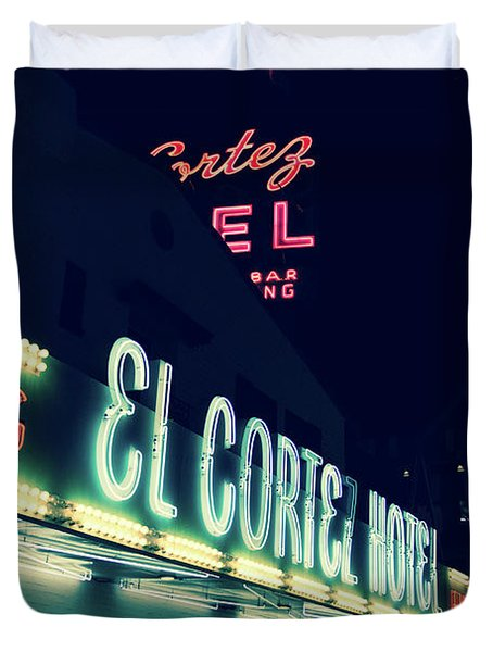 El Cortez Hotel At Night Duvet Cover