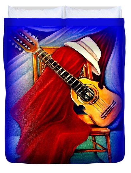 El Cuatro De Papi Duvet Cover by Yolanda Rodriguez