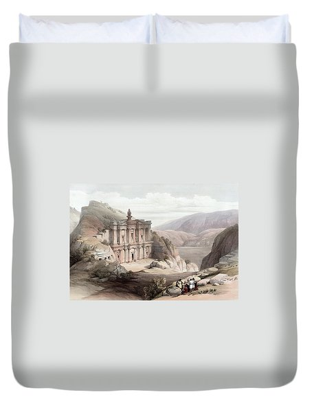 El Deir Petra 1839 Duvet Cover by Munir Alawi