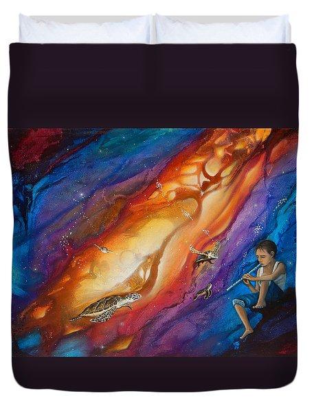 El Flautista Duvet Cover by Angel Ortiz