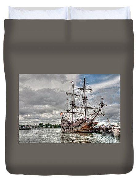 Duvet Cover featuring the photograph El Galeon Andalucia In Portsmouth by Wayne Marshall Chase