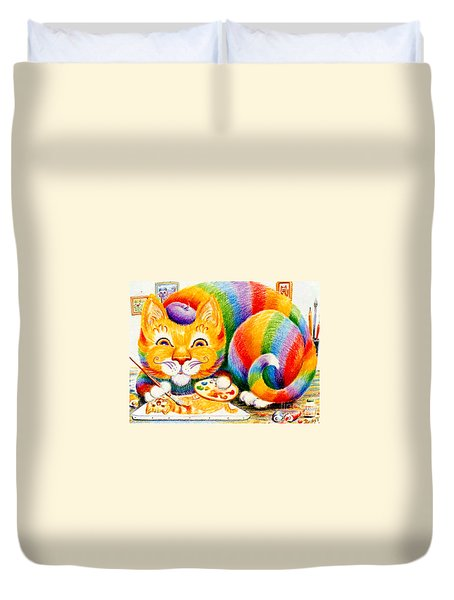 Duvet Cover featuring the drawing el Gato Artisto by Dee Davis