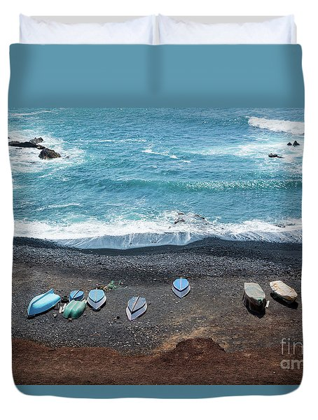 Duvet Cover featuring the photograph El Golfo by Delphimages Photo Creations